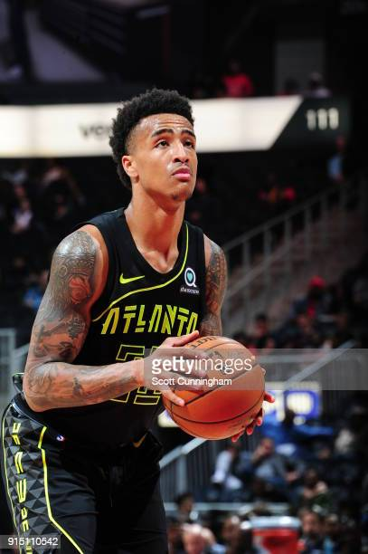 John Collins of the Atlanta Hawks handles the ball against the Memphis Grizzlies on February 6 2018 at Philips Arena in Atlanta Georgia NOTE TO USER...