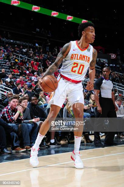 John Collins of the Atlanta Hawks handles the ball during the game against the Brooklyn Nets on January 12 2018 at Philips Arena in Atlanta Georgia...