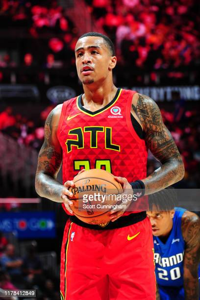 John Collins of the Atlanta Hawks looks on during a game against the Orlando Magic on October 26 26 2019 at State Farm Arena in Atlanta Georgia NOTE...