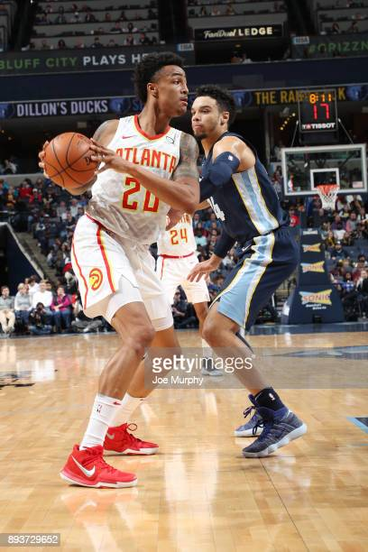 John Collins of the Atlanta Hawks looks to pass the ball against the Memphis Grizzlies on December 15 2017 at FedExForum in Memphis Tennessee NOTE TO...
