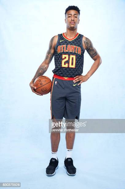 John Collins of the Atlanta Hawks poses for a photo during the 2017 NBA Rookie Shoot on August 11 2017 at the Madison Square Garden Training Center...