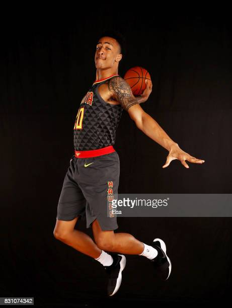 John Collins of the Atlanta Hawks poses for a portrait during the 2017 NBA Rookie Photo Shoot at MSG Training Center on August 11 2017 in Greenburgh...