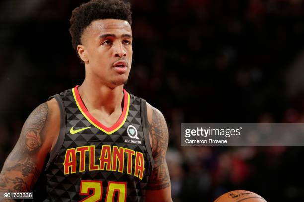 John Collins of the Atlanta Hawks prepares to shoot a free throw against the Portland Trail Blazers on January 5 2018 at the Moda Center in Portland...