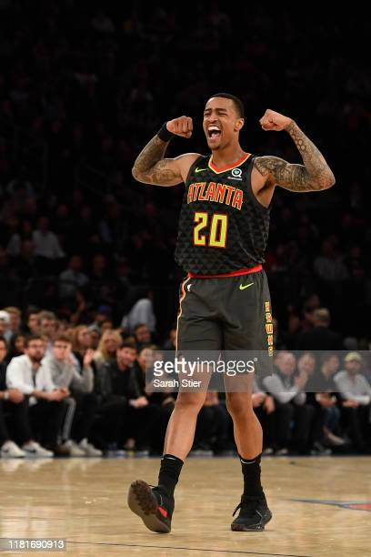 John Collins of the Atlanta Hawks reacts during the second quarter of the preseason game against the New York Knicks at Madison Square Garden on...
