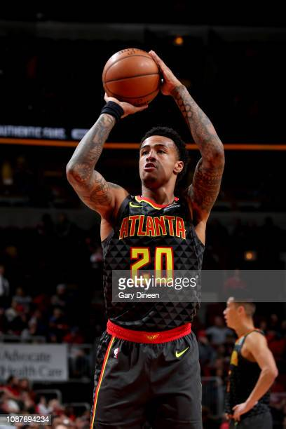 John Collins of the Atlanta Hawks shoots a freethrow shot against the Chicago Bulls on January 23 2019 at the United Center in Chicago Illinois NOTE...