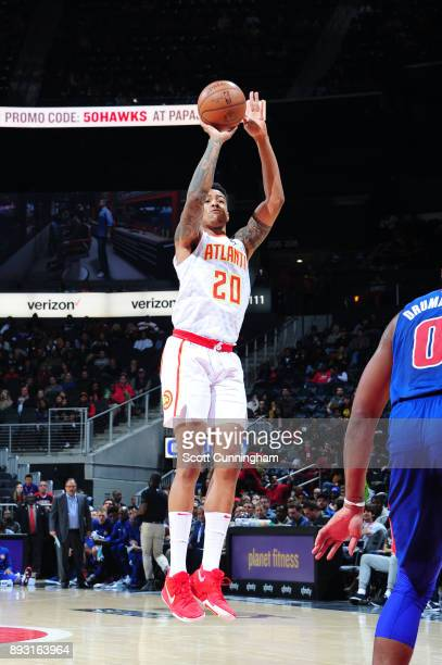 John Collins of the Atlanta Hawks shoots the ball against the Detroit Pistons on December 14 2017 at Philips Arena in Atlanta Georgia NOTE TO USER...