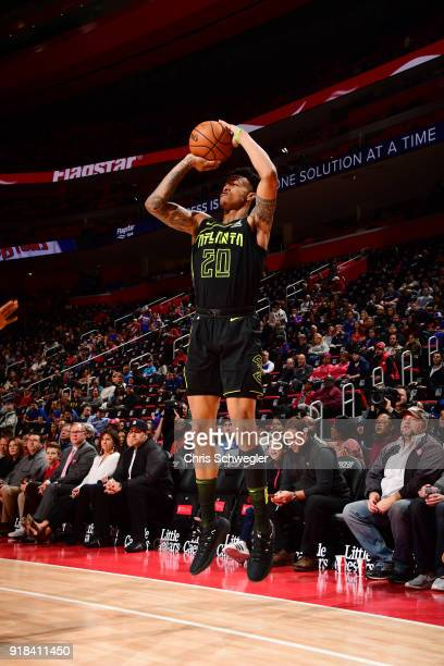 John Collins of the Atlanta Hawks shoots the ball against the Detroit Pistons on February 14 2018 at Little Caesars Arena in Detroit Michigan NOTE TO...