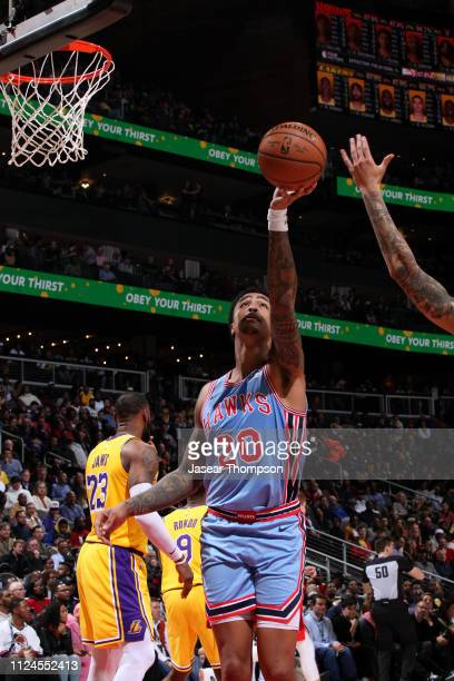 John Collins of the Atlanta Hawks shoots the ball against the Los Angeles Lakers on February 12 2019 at State Farm Arena in Atlanta Georgia NOTE TO...