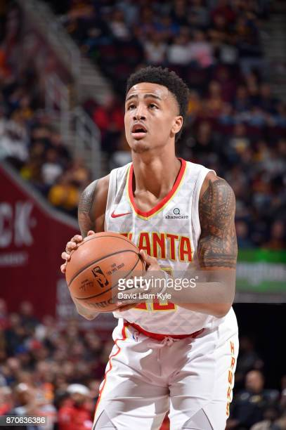 John Collins of the Atlanta Hawks shoots the ball against the Cleveland Cavaliers on November 5 2017 at Quicken Loans Arena in Cleveland Ohio NOTE TO...