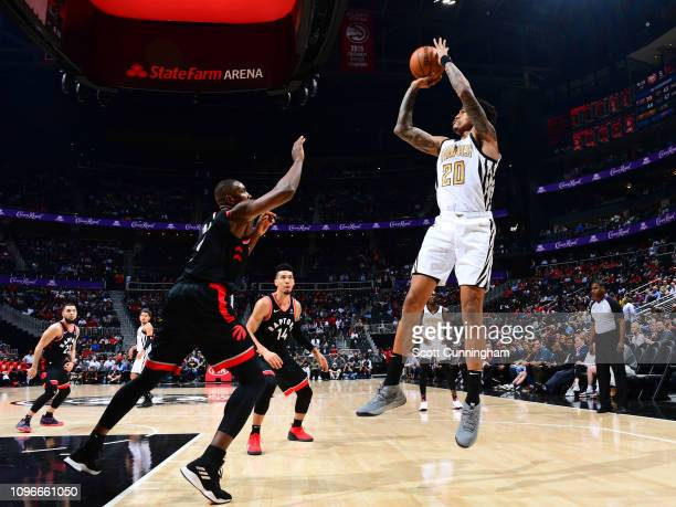 John Collins of the Atlanta Hawks shoots the ball against the Toronto Raptors on February 7 2019 at State Farm Arena in Atlanta Georgia NOTE TO USER...