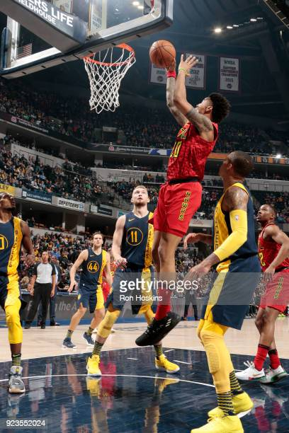 John Collins of the Atlanta Hawks shoots the ball during the game against the Indiana Pacers on February 23 2018 at Bankers Life Fieldhouse in...
