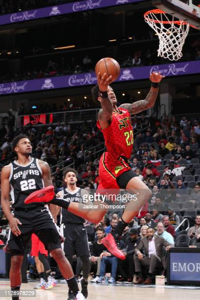 John Collins of the Atlanta Hawksshoots the ball against the San Antonio Spurs on March 6 2019 at State Farm Arena in Atlanta Georgia NOTE TO USER...