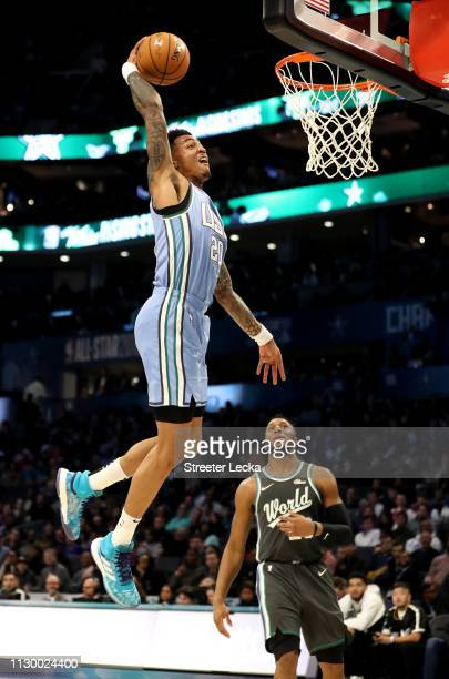 John Collins of the US Team dunks during the 2019 Mtn Dew ICE Rising Stars at Spectrum Center on February 15 2019 in Charlotte North Carolina