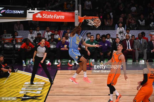 John Collins of the US Team dunks during the Mtn Dew Kickstart Rising Stars Game during AllStar Friday Night as part of 2018 NBA AllStar Weekend at...