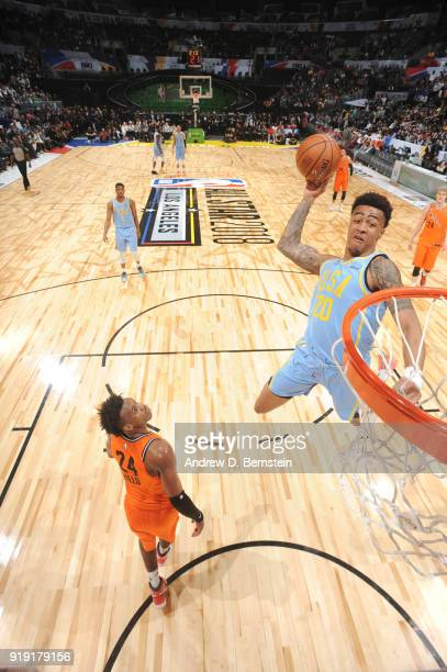 John Collins of the USA team dunks the ball against the World team during the Mountain Dew Kickstart Rising Stars Game during AllStar Friday Night as...