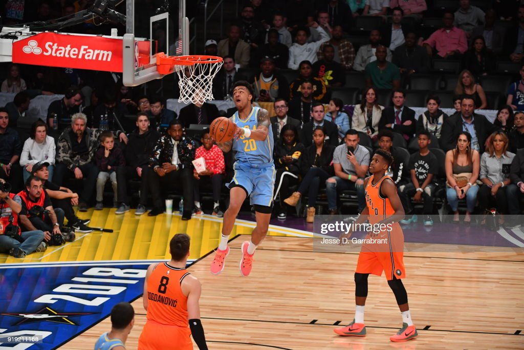 John Collins #20 of the USA Team goes up for the dunk against the World Team during the Mountain Dew Kickstart Rising Stars Game during All-Star Friday Night as part of 2018 NBA All-Star Weekend at the STAPLES Center on February 16, 2018 in Los Angeles, California.