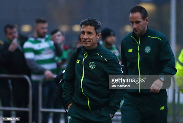John Collins the assistant manager of Celtic arrives prior to kickoff during the UEFA Europa League Group A match between Celtic FC and Molde FK at...