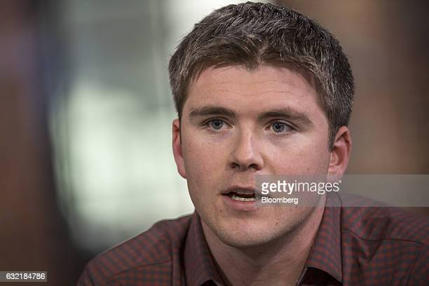 John Collison president and cofounder of Stripe Inc speaks during a Bloomberg Technology television interview in San Francisco California US on...
