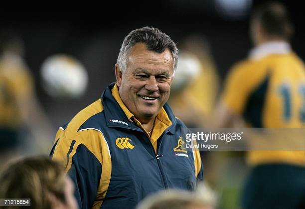 John Connolly the Australian head coach smiles during the Wallabies Captain's Run at the Telstra Dome on June 16, 2006 in Melbourne, Australia.