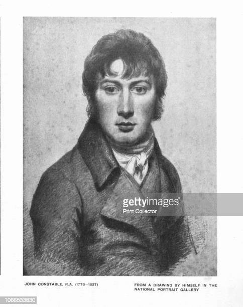John Constable, R.A. . Print after a self portrait drawing by British landscape painter Constable, made circa 1799-1804, in the National Portrait...