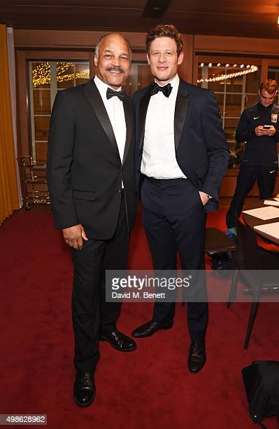 John Conteh and James Norton attend the Royal Marines Boxing Bout at Cafe Royal in celebration of their 150th Anniversary on November 24 2015 in...
