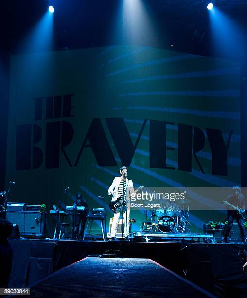 John Conway Mike Hindert Sam Endicott Anthony Burulcich and Michael Zakarin of The Bravery perform at The Palace of Auburn Hills on July 14 2009 in...