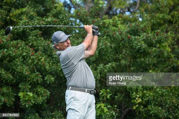 John Cook tees off on the 15th hole during the second round of the PGA TOUR Champions Allianz Championship at The Old Course at Broken Sound on...