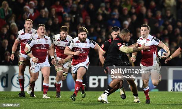 John Cooney of Ulster and Kyle Sinckler of Harlequins during the European Rugby Champions Cup match between Ulster Rugby and Harlequins at Kingspan...