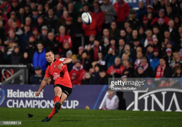 John Cooney of Ulster kicks a conversion during the Champions Cup match between Ulster Rugby and Leicester Tigers at Kingspan Stadium on October 13...