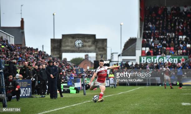 John Cooney of Ulster kicks a conversion during the European Rugby Champions Cup match between Ulster Rugby and La Rochelle at Kingspan Stadium on...