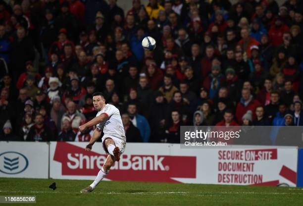 John Cooney of Ulster kicks a conversion during the Heineken Champions Cup Round 3 match between Ulster Rugby and Harlequins at Ravenhill Stadium on...