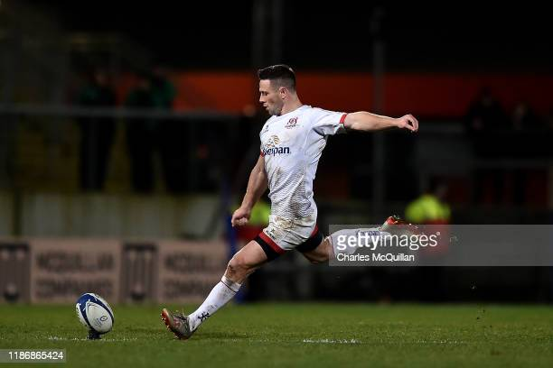 John Cooney of Ulster kicks the game clinching penalty in the dying moments during the Heineken Champions Cup Round 3 match between Ulster Rugby and...