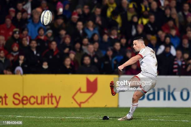 John Cooney of Ulster Rugby kicks a conversion during the Heineken Champions Cup Round 2 match between Ulster Rugby and ASM Clermont Auvergne at...