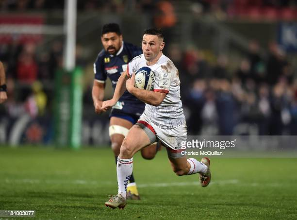 John Cooney of Ulster runs towards the try line before being stopped short during the Heineken Champions Cup Round 2 match between Ulster Rugby and...