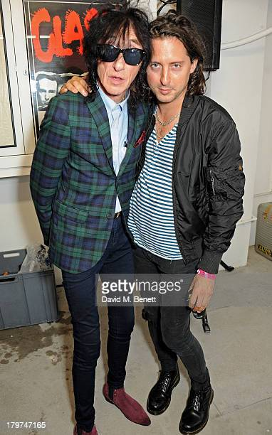 John Cooper Clarke and Carl Barat attend the launch of 'Black Market Clash' an exhibition of personal memorabilia and items curated by original...