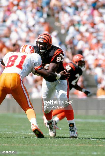 John Copeland of the Cincinnati Bengals rushes up against against Jackie Harris of the Tampa Bay Buccaneers during an NFL football game October 8...