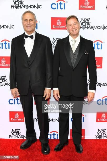 John Corigliano and Mark Adamo attend the New York Philharmonic's Opening Gala New York Meet Jaap at David Geffen Hall on September 20 2018 in New...