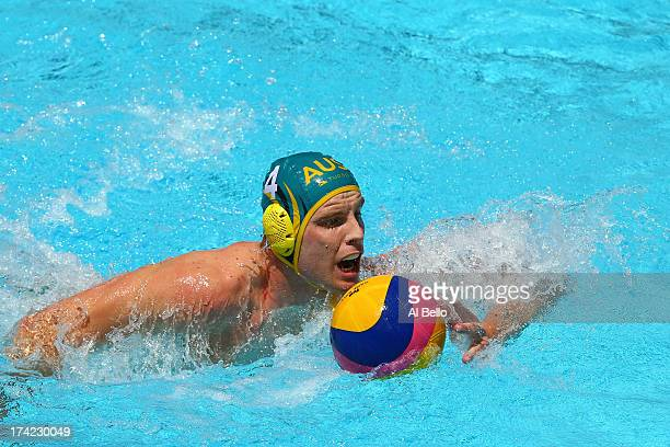John Cotterill of Australia in action during the Men's Water Polo first preliminary round match between Australia and Serbia during day three of the...