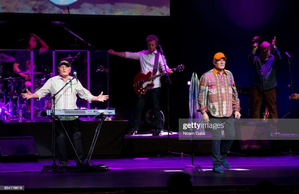 John Cowsill, Bruce Johnston, Brian Eichenberger, Mike Love and Randy Leago of The Beach Boys perform in concert at The Beacon Theatre on August 17, 2017 in New York City.