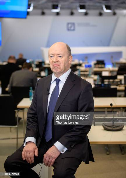 John Cryan CEO of German bank Deutsche Bank pictured during an interview after the press conference over the company's 2017 preliminary financial...