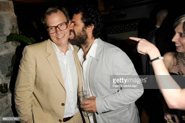 John Currin and Gavin Brown attend J BRAND / HUSSEIN CHALAYAN Private Dinner at Hotel Griffou on July 29 2009 in New York City