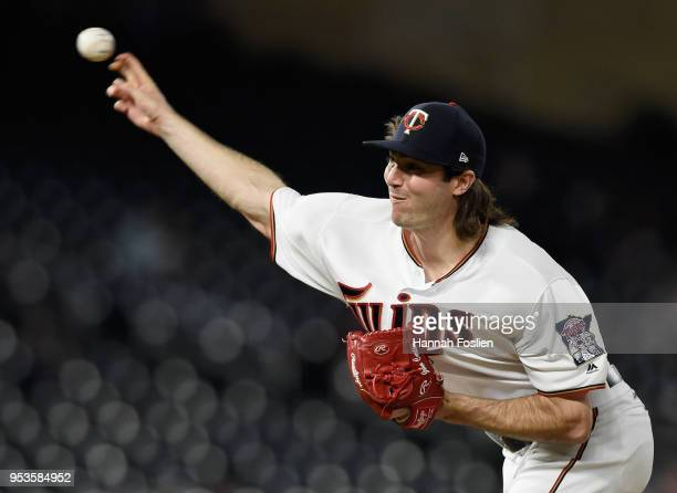 John Curtiss of the Minnesota Twins delivers a pitch against the Toronto Blue Jays during the tenth inning of the game on May 1 2018 at Target Field...