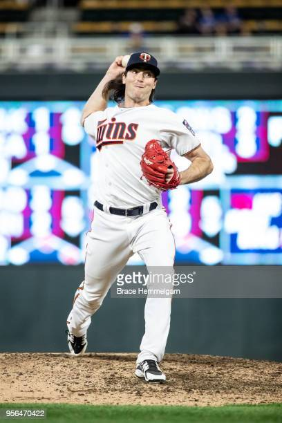 John Curtiss of the Minnesota Twins pitches against the Toronto Blue Jays on May 1 2018 at Target Field in Minneapolis Minnesota The Blue Jays...