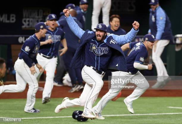 John Curtiss of the Tampa Bay Rays celebrates the teams 8-7 walk-off victory against the Los Angeles Dodgers in Game Four of the 2020 MLB World...