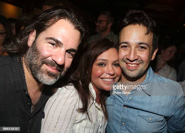 John Cusimano Rachael Ray and Lin Manuel Miranda pose backstage at the parody of Hamilton called Spamilton at The Triad Theatre on August 10 2016 in...