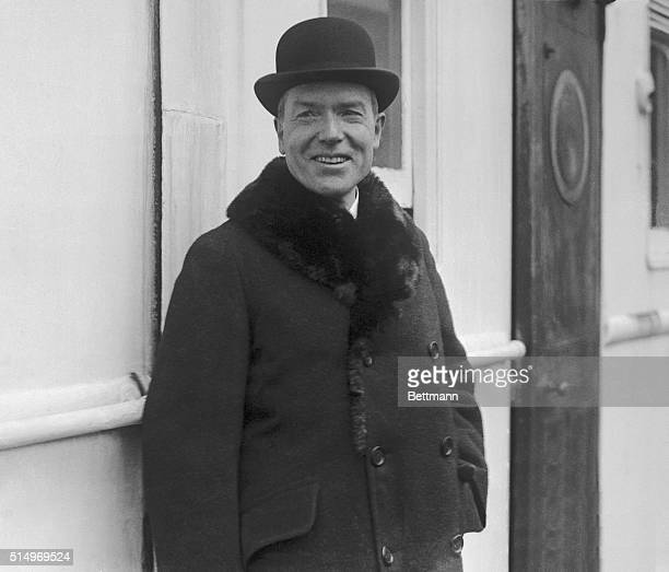 John D Rockefeller Jr as he appeared on his arrival at New York on the SS Mauretania Mr and Mrs Rockefeller returned after a two month European...