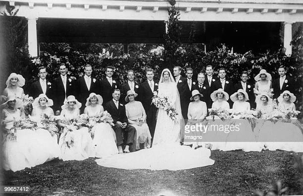 John D Rockefeller Jr marries Mary Todhunter Clark The pictures shows a group picture of the wedding party Photograph Pennsylvania USA 1930 Photo by...
