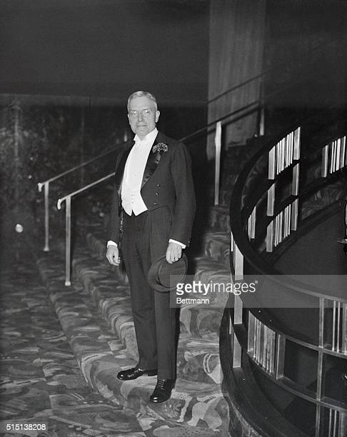 John D. Rockefeller, Jr., seen as he arrived to attend the formal opening of the Radio City Music Hall in Rockefeller Center, New York on December...