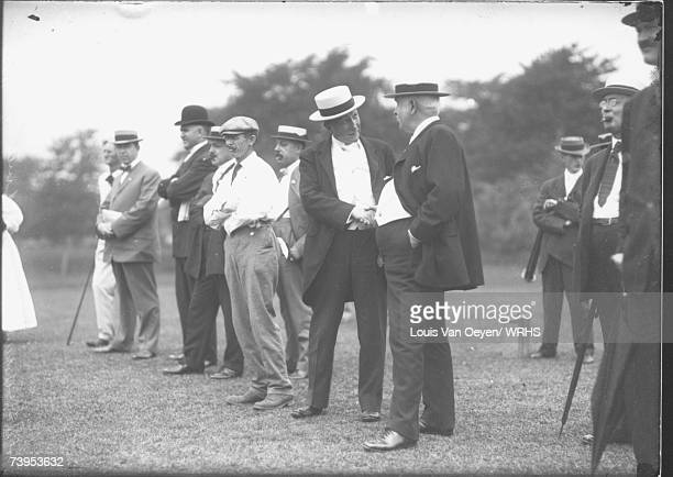 John D Rockefeller meets with members of the American Press Humorists who had gathered in Cleveland for their annual convention