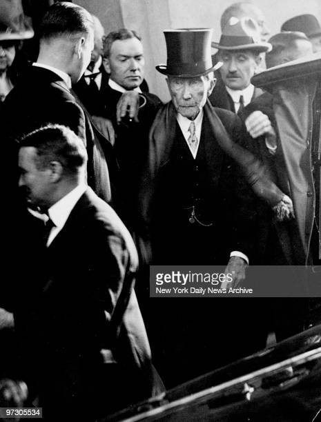 John D Rockefeller Sr and his son John Jr leave a wedding in Greenwich Connecticut